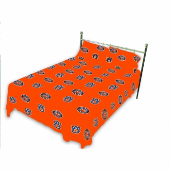 Auburn Tigers Printed Sheet Set Queen Solid