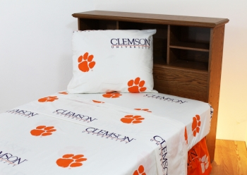 Clemson Tigers Printed Sheet Set Full White