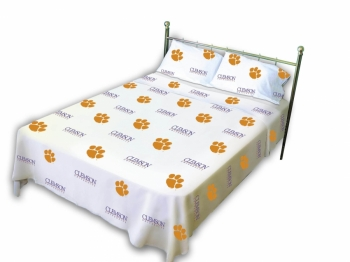 Clemson Tigers Printed Sheet Set Queen White