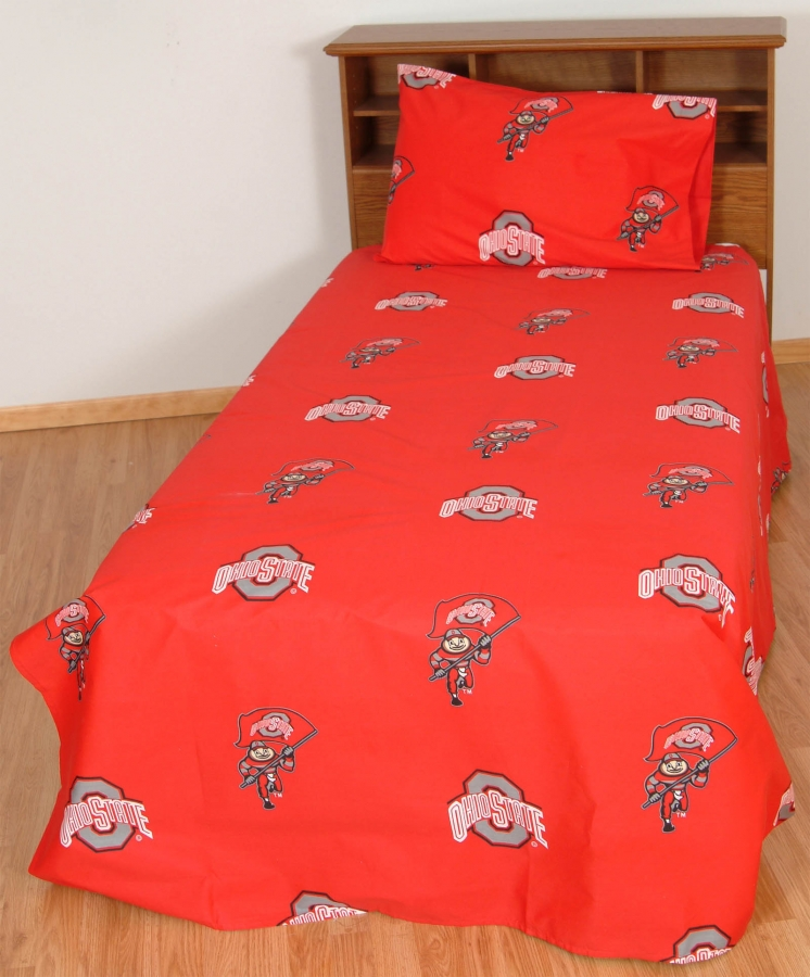 Ohio State Buckeyes Printed Sheet Set Twin XL Solid