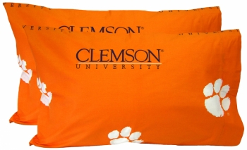 Clemson Tigers Printed Pillow Case - (Set of 2) - Solid
