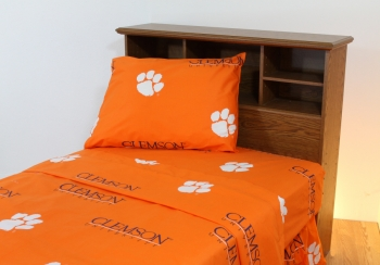 Clemson Tigers Printed Sheet Set Full Solid
