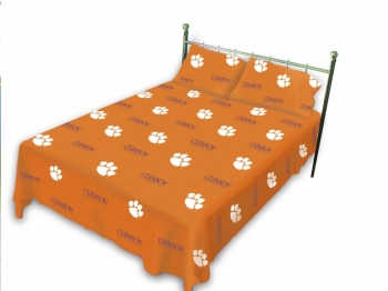 Clemson Tigers Printed Sheet Set Queen Solid